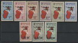 """MADAGASCAR POSTE AERIENNE Cote 60 € N° 45 + 47 à 54. Ensemble De 9 Valeurs Surchargées """"FRANCE LIBRE"""" Neuves ** MNH. TB - Madagascar (1889-1960)"""