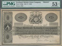 Scotland / Schottland: The British Linen Bank 100 Pounds 1862 Front Proof, P.S169p, Previously Mount - [ 3] Schottland