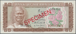 Sierra Leone:  Bank Of Sierra Leone 50 Cents ND(1979-84) SPECIMEN, P.4s, Zero Serial Number And Red - Sierra Leone