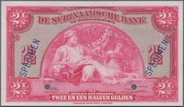 Suriname: De Surinaamsche Bank 2 ½ Gulden 1942 SPECIMEN, P.87bs With Serial Number 00000, Punch Hole - Suriname