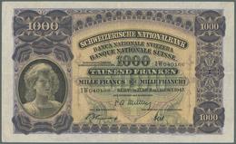 Switzerland / Schweiz: 1000 Franken 1947 P. 37h, Center And Horizontal Fold, Some Light Corner Foldi - Schweiz