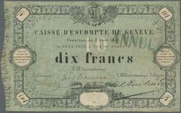 """Switzerland / Schweiz: 10 Francs 1856, Caisse D'Escompte De Genève, P. S311, Stamped """"Annulé"""", Used - Suisse"""