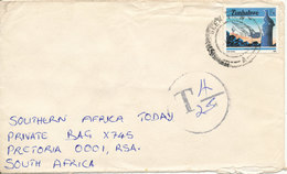 Zimbabwe Underpaid Cover With Postal Due T Sent To South Africa - Zimbabwe (1980-...)
