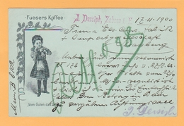 Th.16 Entier Postal 2pf Repiqué  Illustré Fuesers Kaffee Café + Vom Guten Das Beste. ZABERN 17.11.1900= Saverne Alsace - Food