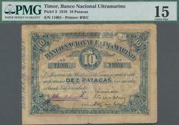 Timor: Banco Nacional Ultramarino – TIMOR 10 Patacas 1910, P.3, Tiny Margin Splits And Small Tears A - Timor