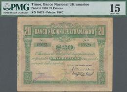 Timor: Banco Nacional Ultramarino – TIMOR 20 Patacas 1910, P.4, Still Nice With Tiny Holes And Tears - Timor