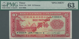 "Timor: Banco Nacional Ultramarino – Timor 10 Patacas 1945 SPECIMEN, P.18s With Red Overprint ""Specim - Timor"