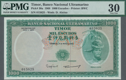 Timor: Banco Nacional Ultramarino 1000 Escudos 1968, P.30a, PMG 30 Very Fine With Minor Repairs But - Timor