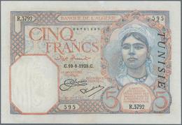 Tunisia / Tunisien: Banque De L'Algérie – TUNISIE Pair With 5 Francs November 18th 1925 (F/F-) And 5 - Tunesien