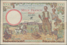 "Tunisia / Tunisien: Banque De L'Algérie 1000 Francs 1942 With ""TUNISIE"" Overprint At Right On Algeri - Tunesien"