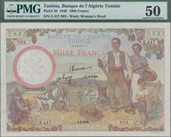 Tunisia / Tunisien: Banque De L'Algérie – TUNISIE 1000 Francs 1946, P.26, Excellent Condition With A - Tunesien