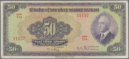 "Turkey / Türkei: 50 Lirasi L. 1930 (1942-1947) ""İnönü"" - 3rd Issue, P.142a, Two Times Vertically Fol - Turkey"