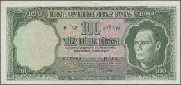 Turkey / Türkei: Pair With 10 Lira L.1930 (1951-61) P.161 (F+) And 100 Lira L.1930 (1951-65) P.177 ( - Turchia