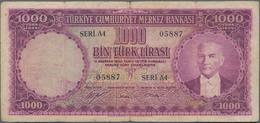 "Turkey / Türkei: 1000 Türk Lirasi L. 1930 (1951-1961) ""Atatürk"" - 5th Issue, P.172, Larger Border Te - Turkey"