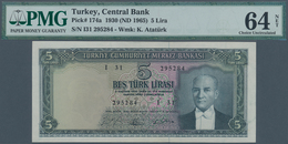 "Turkey / Türkei: 5 Lirasi L. 1930 (1951-1965) ""Atatürk"" - 5th Issue In Almost Perfect Condition With - Turkey"