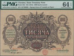 Ukraina / Ukraine: Set With 3 Banknotes Comprising 100 And 1000 Hryven 1918 P.22a, 24, Both PMG Grad - Ukraine