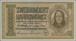 Ukraina / Ukraine: German Occupation WW II, Zentralnotenbank Ukraine 1942 Set With 3 Banknotes 10, 1 - Ukraine