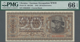 Ukraina / Ukraine: Zentralnotenbank Ukraine 20 Karbowanez 1942, P.53, PMG 66 Gem Uncirculated EPQ. R - Ukraine