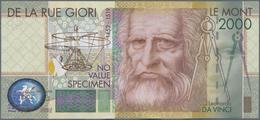 Testbanknoten: Bundle Of 100 Pcs. Test Notes By De La Rue Giori LE MONT 2000 With Portrait Of Leonar - Fiktive & Specimen