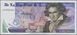 "Testbanknoten: Bundle Of 100 Pcs. Test Notes By De La Rue Giori S.A. VARINOTA ""1"" With Portrait Of L - Fiktive & Specimen"