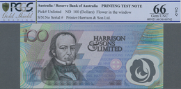Testbanknoten: Polymer Test Note 100 For The Reserve Bank Of Australia By Harrison & Sons Limited In - Fiktive & Specimen
