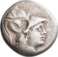 Pamphylien: SIDE: Tetradrachme, 2.-1. Jhd. V. Chr.; 16,35 G, Mit Gegenstempel Auf Avers. Athenakopf - Griechische Münzen