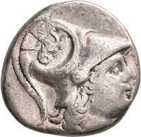 Pamphylien: SIDE: Tetradrachme, 2.-1. Jhd. V. Chr.; 16,46 G, Mit Gegenstempel Auf Avers. Athenakopf - Griechische Münzen