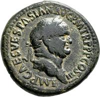 Vespasian (69 - 79): Æ-Sesterz, 27,36 G, Kampmann 20.74, Dunkelbraune Patina, Fast Sehr Schön. - 2. Die Flavische Dynastie (69 / 96)