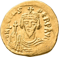 Phocas (602 - 610): Solidus (Gold) Ca. 606, Constantinopel. Brustbild Mit Spitzbart Von Vorne, DN FO - Byzantinische Münzen