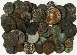 Antike: Lot 72 Antike Münzen, Römer Und Byzanz, Nicht Näher Bestimmt. Gekauft Wie Gesehen, Keine Spä - Antike