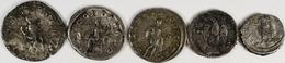 Antike: Römische Kaiserzeit: Lot 5 Stück; 3 X AR-Antoninian Und 2 X AR-Denar, Sehr Schön. - Antike