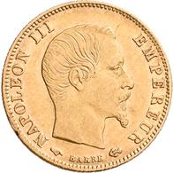 Frankreich - Anlagegold: Napoleon III. 1852-1870: Lot 7 Goldmünzen: 2 X 5 Francs 1858 A, 1860 A; 1 X - Oro