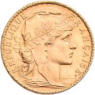 Frankreich - Anlagegold: 3. Republik 1870-1940: Lot 2 Goldmünzen: 20 Francs 1912 (Hahn / Marianne), - Oro