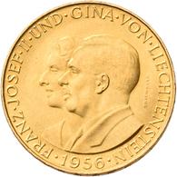 Liechtenstein - Anlagegold: Franz Josef II. 1938-1989: Lot 2 Goldmünzen: 25 + 50 Franken 1956. KM# 1 - Liechtenstein