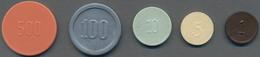 "Niederlande: Platic Money ""Ministerie Van Oorlog"": 1, 5, 10, 25, 100, 500 Cents ND (1946-53) Token. - [ 2] 1795-1814: Franz. Herrschaft"