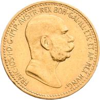 Österreich - Anlagegold: Lot 6 Goldmünzen: 3 X 10 Kronen 1897, 1908, 1911; 2 X 20 Kronen 1903, 1915; - Oesterreich