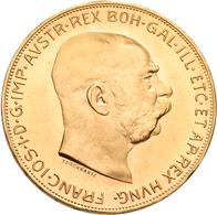 Österreich - Anlagegold: Franz Joseph I. 1848-1916: Lot 2 Goldmünzen: 2 X 100 Kronen 1915 (NP), KM# - Oesterreich