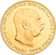 Österreich - Anlagegold: Franz Joseph I. 1848-1916: Lot 5 Goldmünzen: 5 X 100 Kronen 1915 (NP), KM# - Oesterreich