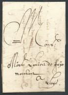 """L 1662 Datée De Verviers + Port """"I"""" à La Craie Rouge Pour Liège - 1621-1713 (Pays-Bas Espagnols)"""