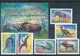NB - [800475]TB//**/Mnh-Kazakhstan 1994, Animaux Préhistoriques, SC, **/mnh + Le Bloc Obl - Timbres