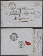 BELGIQUE LETTRE NON AFFRANCHIE DE CHIEVRES-ATTRES 24/01/1861 VERS BORDEAUX TAXE (13 Gr)  (BE) DC-5406 - 1858-1862 Médaillons (9/12)