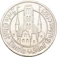 Danzig: 5 Gulden 1923 Marienkirche. Jaeger D9. 24,92 G. Silber. Kratzer, Randfehler, Sehr Schön. - Ohne Zuordnung
