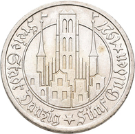 Danzig: 5 Gulden 1927 Marienkirche. Jaeger D9. 25,0 G. Silber. Winzige Kratzer, Kaum Sichtbarer Rand - Ohne Zuordnung