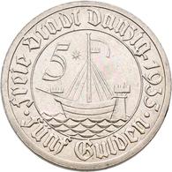 Danzig: 5 Gulden 1935 Kogge. Jaeger D19. 10,9 G. Nickel. Kleine Kratzer, Sonst Vorzüglich. - Ohne Zuordnung