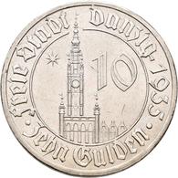 Danzig: 10 Gulden 1935 Rathaus. Jaeger D20. 17,0 G. Nickel. Überdurchschnittlich Erhalten, Kleine Kr - Ohne Zuordnung