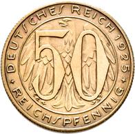 Proben & Verprägungen: Weimarer Republik 1918-1933: Probeprägung In Messing; 50 Reichspfennig 1925 F - Ohne Zuordnung