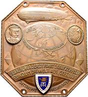 Medaillen Deutschland: Friedrichshafen: Einseitige Bronzeplakette 1929, Von Moser, München. Weltfahr - Deutschland