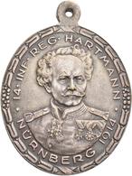 Medaillen Deutschland: Nürnberg: Hochovale Bronzemedaille 1914, Versilbert, Von Lauer, Auf Das 100jä - Deutschland