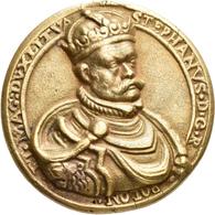 Medaillen - Religion: Polen, Stefan Bathory: Gussmedaille Auf Stephan Von Ungarn. STEPHANVS D G R PO - Entriegelungschips Und Medaillen