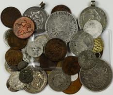 Alle Welt: Lot 49 Diverse Münzen Aus Aller Welt, Altdeutschland, Altpolen U.s.w. Einige Silbermünzen - Ohne Zuordnung